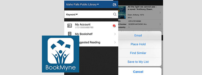 screenshots of the bookmyne interface