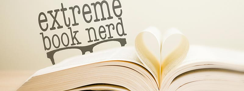 Picture of a book with the Extreme Book Nerd logo behind