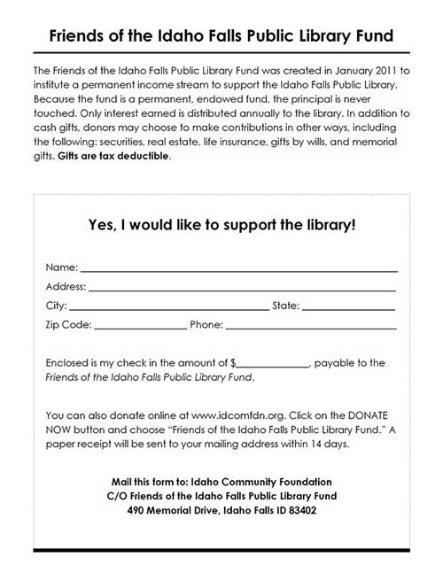 friends of the library endowment contribution form