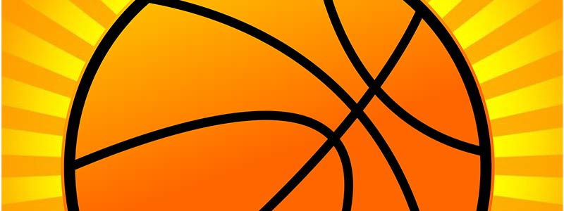 clipart of a basketball on a sunburst background